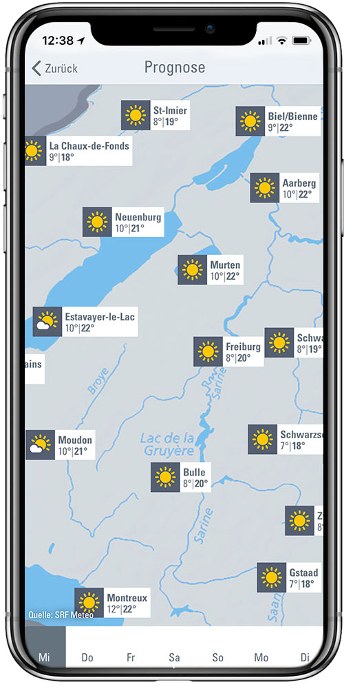 Wetterkarten und -vorhersagen
